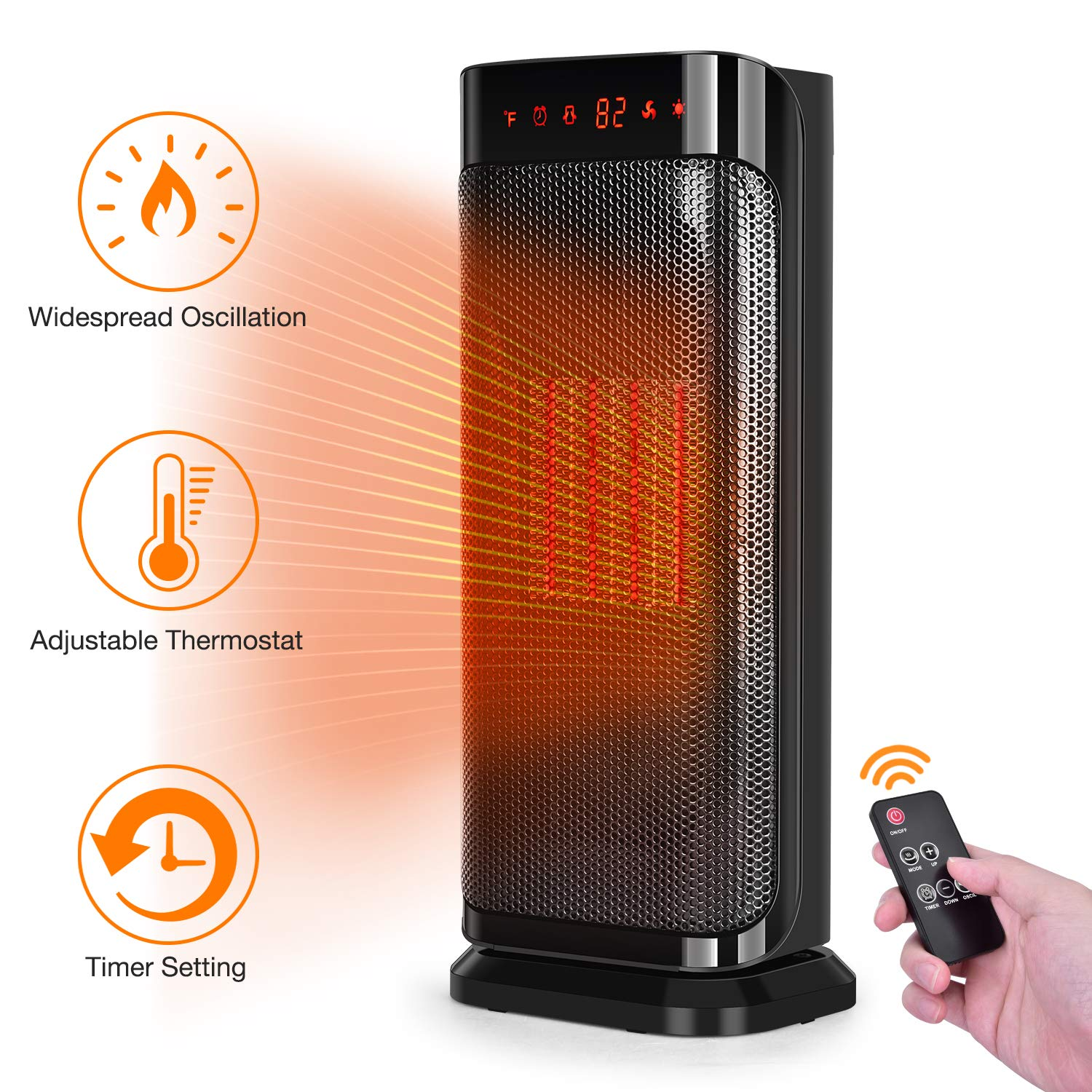 TRUSTECH Electric Space, 750W 1500W Fast Heating Portable Oscillating Ceramic Tower Heater